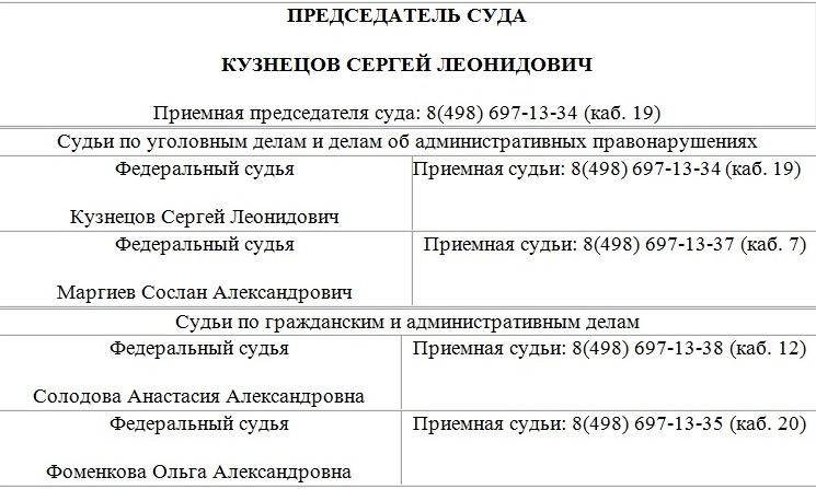 телефоны звенигородский суд